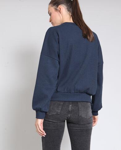 Sweater van ribstof marineblauw