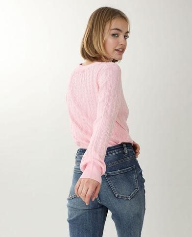Vest met kabelpatroon pastelroze - Pimkie