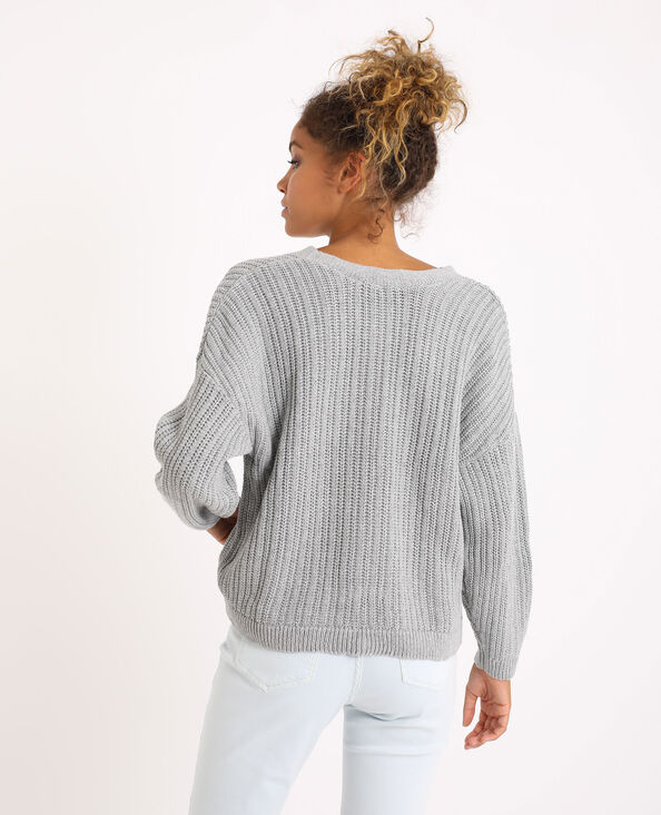 Cardigan van dik tricot grijs