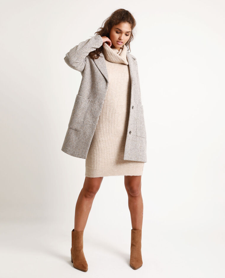 Robe pull col chale beige