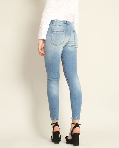 Destroyed skinny jeans blauw