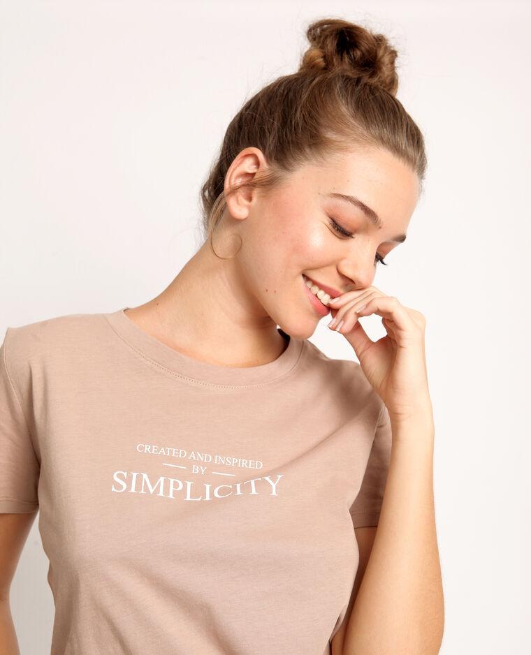 T-shirt à message taupe clair