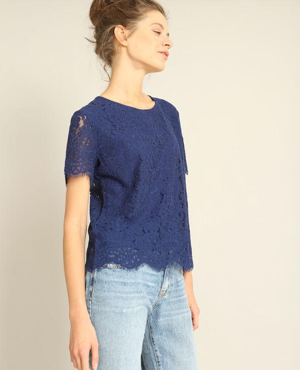T-shirt en dentelle bleu foncé