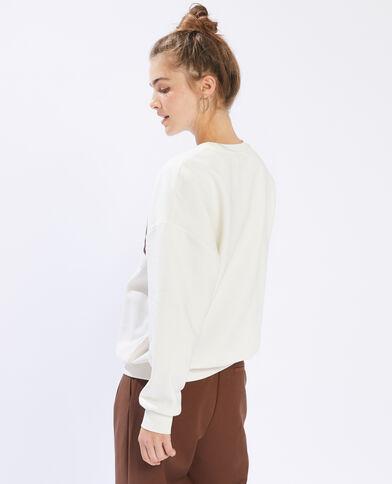 Sweater met Virginia-print gebroken wit - Pimkie
