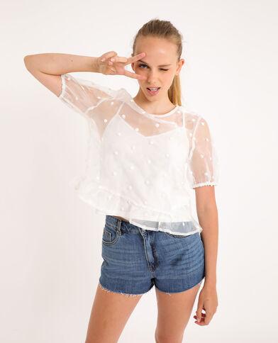 Shirt van organza gebroken wit