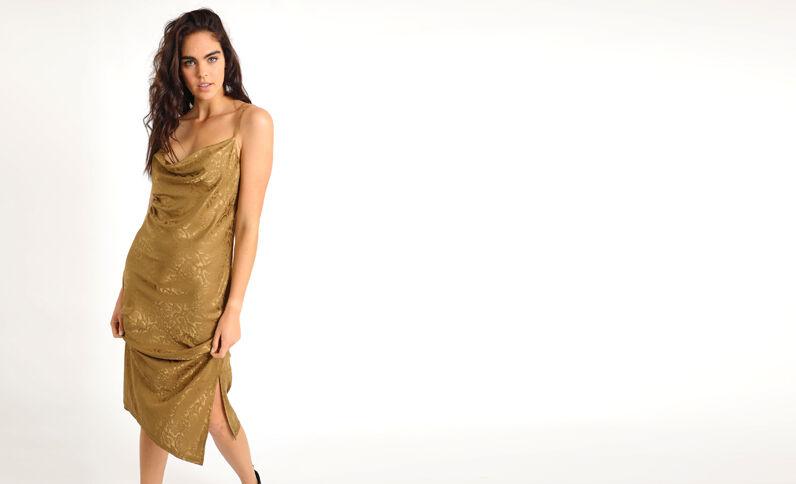 Lange jurk met pythonprint kaki