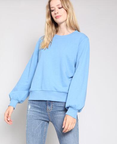 Sweater met pofmouwen blauw