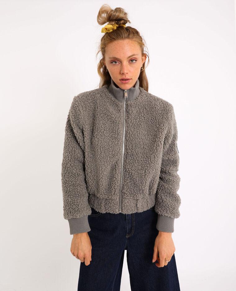 Blouson imitation mouton gris