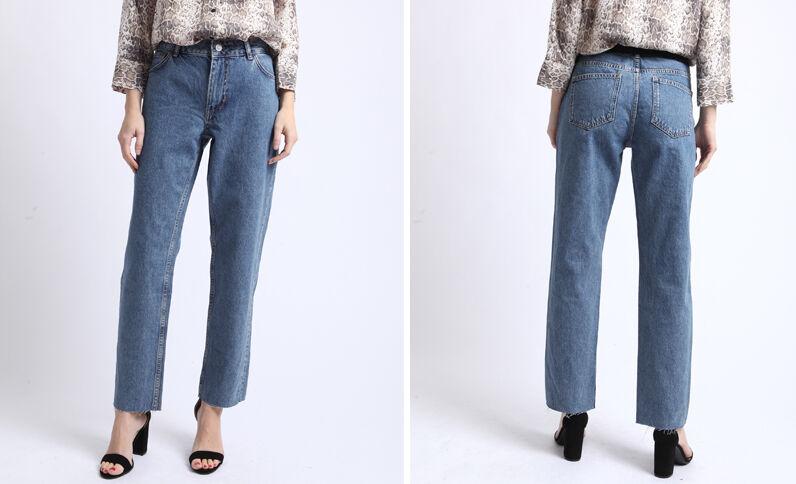 Jean droit mid waist bleu denim
