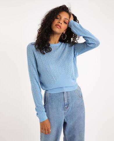 Opengewerkte trui blauw
