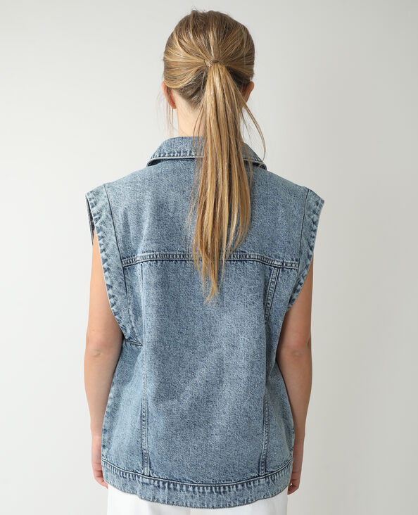 Oversized jeansvestje verwassen blauw - Pimkie