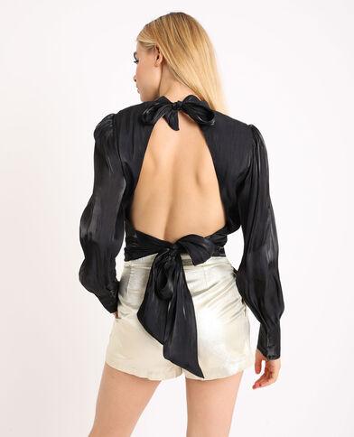 Kort shirt met open rug zwart