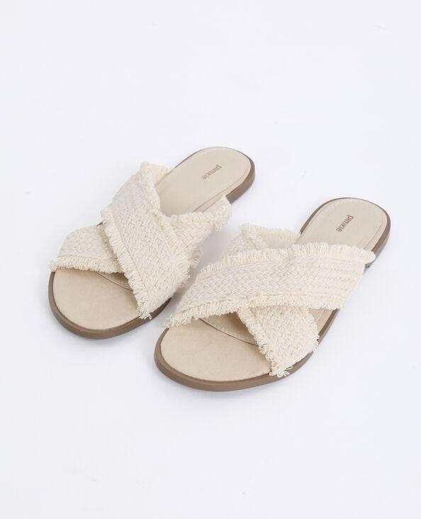 Textielen sandalen geweven beige