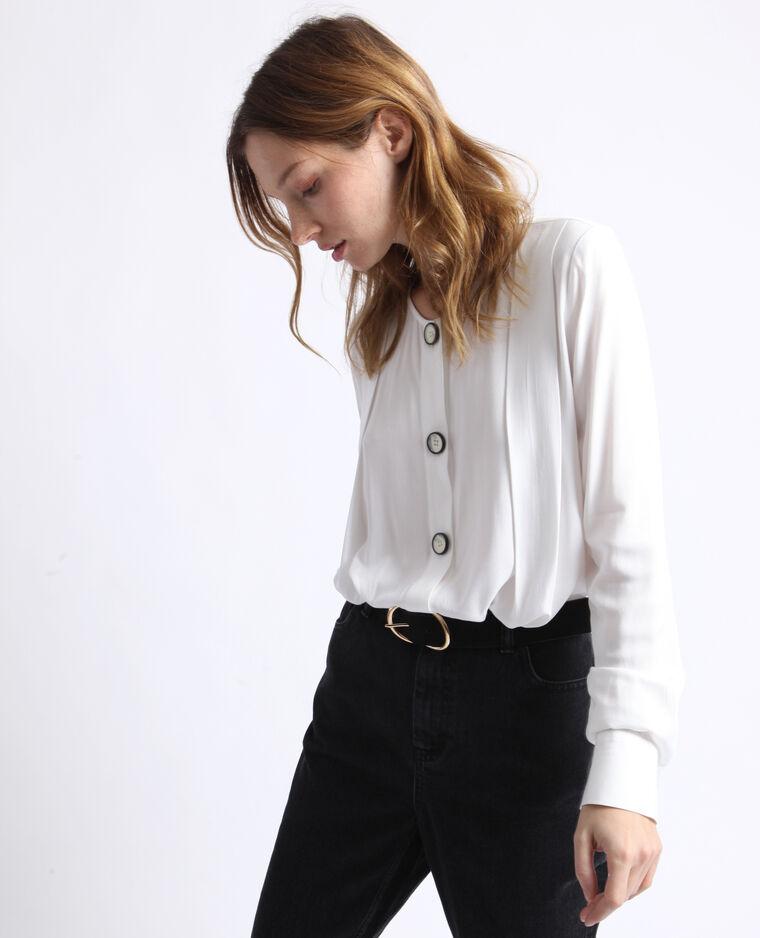 Chemise sans col blanc cassé