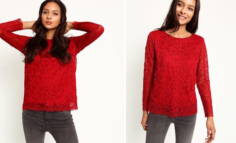 T-shirt met kant rood