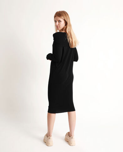 Trui-jurk met sjaalkraag zwart