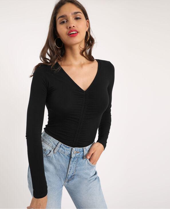 T-shirt met fronsjes zwart