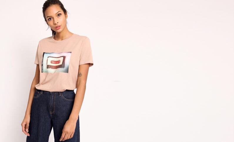 T-shirt imprimé marron