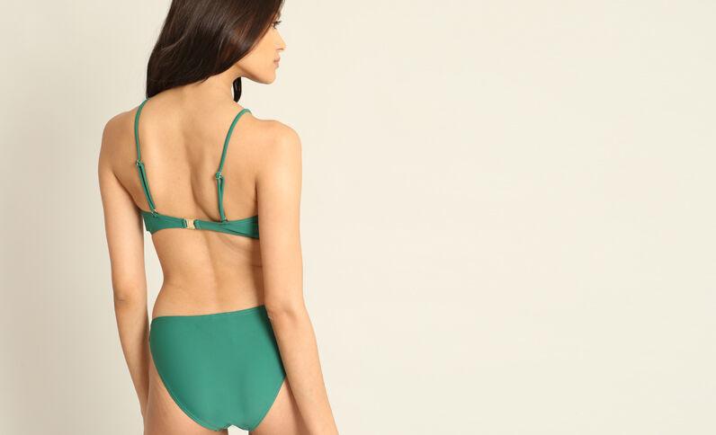 Bikinitop met veters dennengroen
