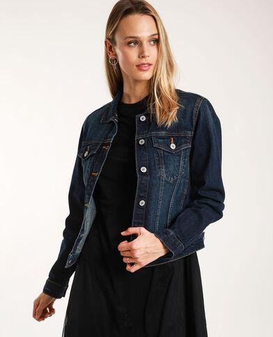 Donkerkleurig jeansjasje donkerblauw