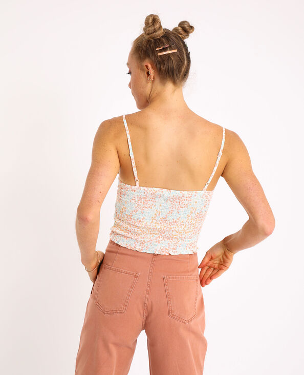 Crop top met smokwerk oranje
