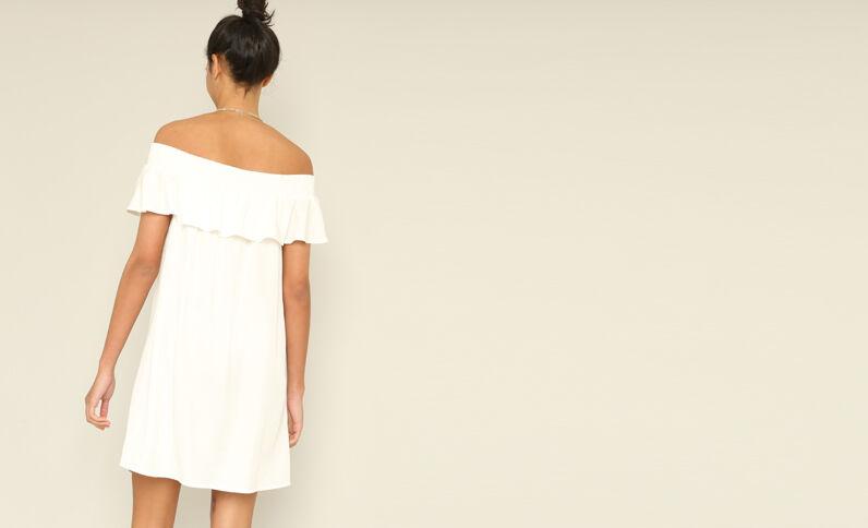 Robe à col bardot blanc