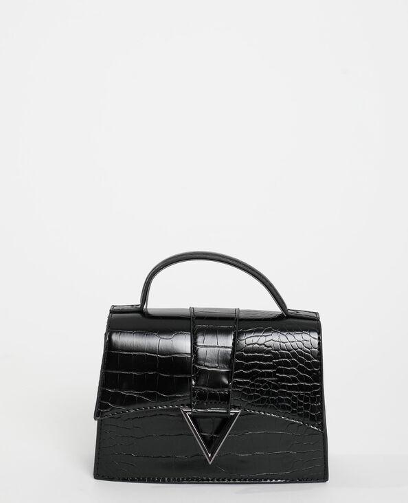 Boxy-tas met krokodillenleereffect zwart - Pimkie