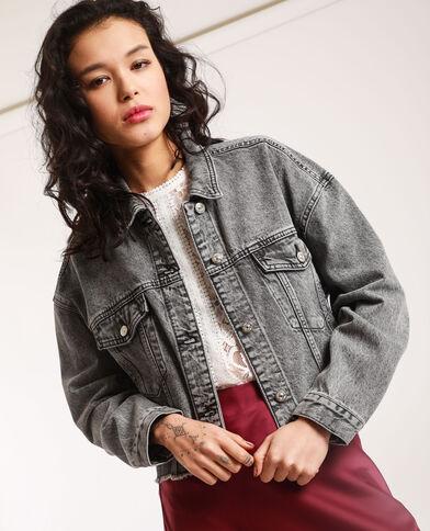 Veste en jean courte gris délavé