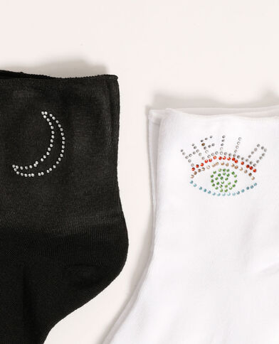 Set van 2 paar sokken met stras zwart - Pimkie