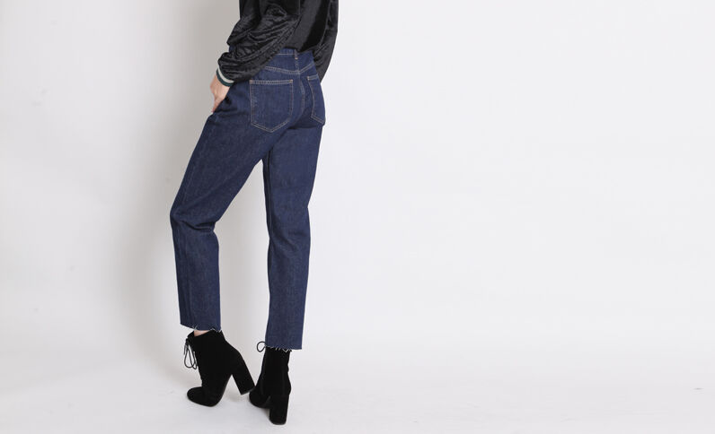 Rechte jeans met middelhoge taille blauw