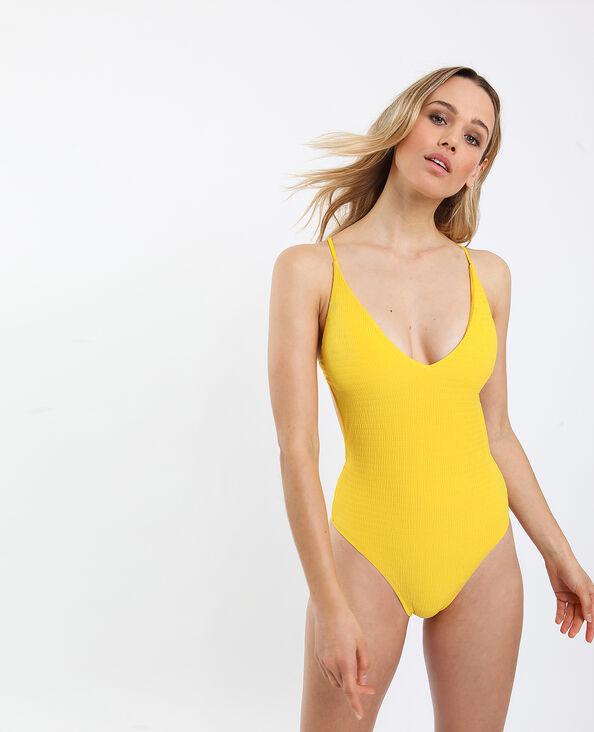Badpak met open rug geel