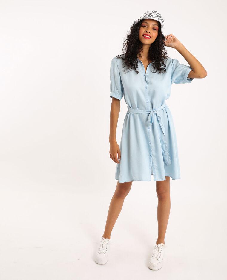 Robe chemisier tencel bleu clair