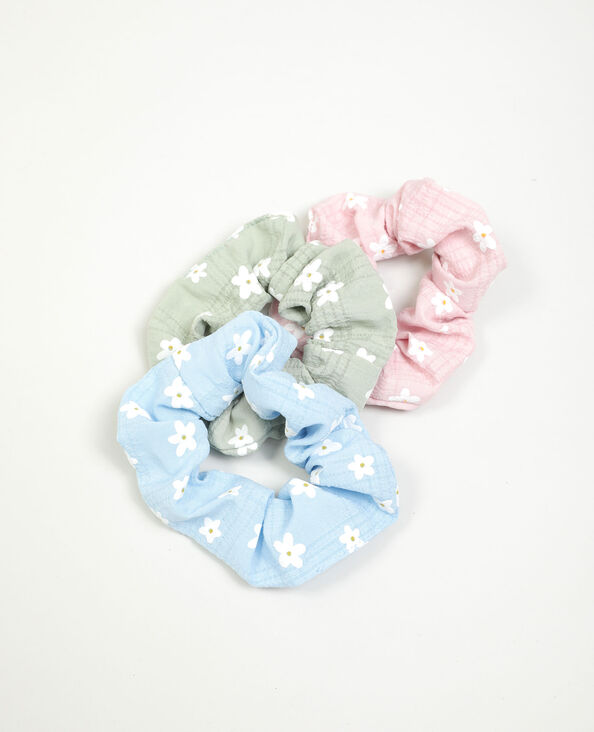 Set van 3 scrunchies met bloemen blauw - Pimkie