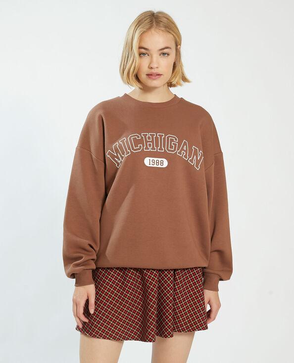 Oversize sweater in molton kastanjebruin - Pimkie