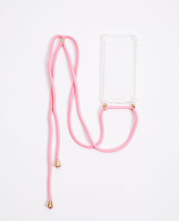 Coque avec cordon compatible iPhone rose - Pimkie