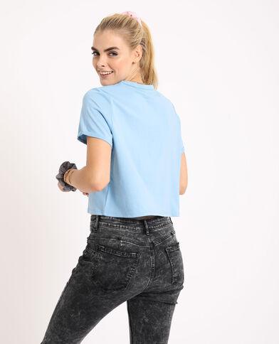 Kort T-shirt turquoiseblauw