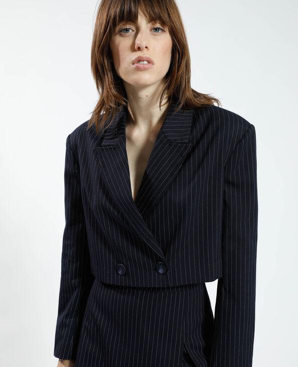 Gestreepte cropped blazer blauw - Pimkie