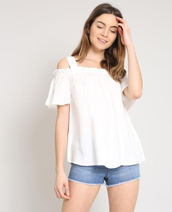 Shirt met peekaboomouwen wit