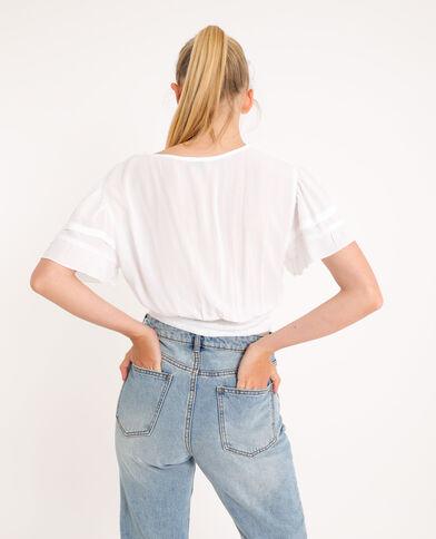 Korte blouse gebroken wit