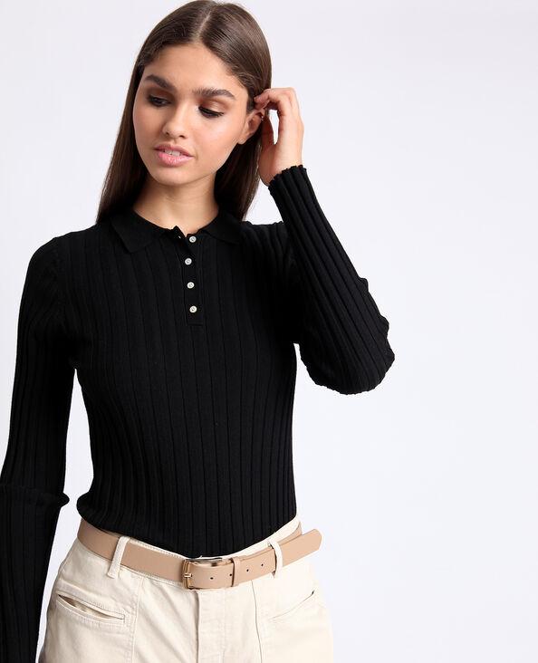 Polo met lange mouwen zwart