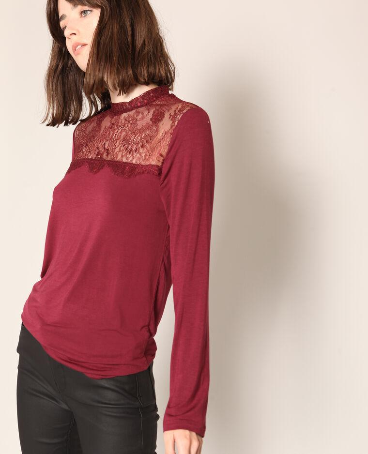 T-shirt avec dentelle bordeaux