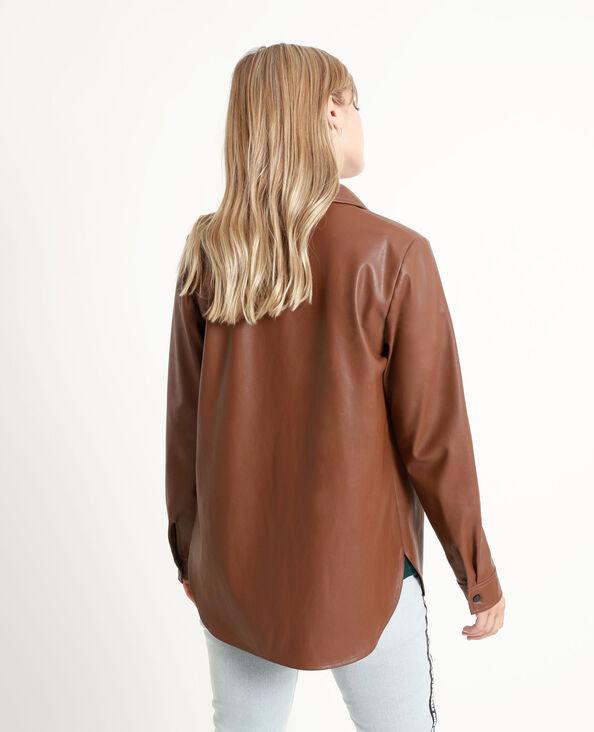 Chemise en faux cuir chocolat