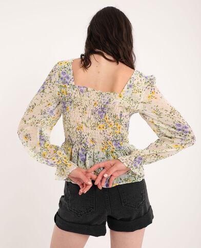 Fleurige blouse wit