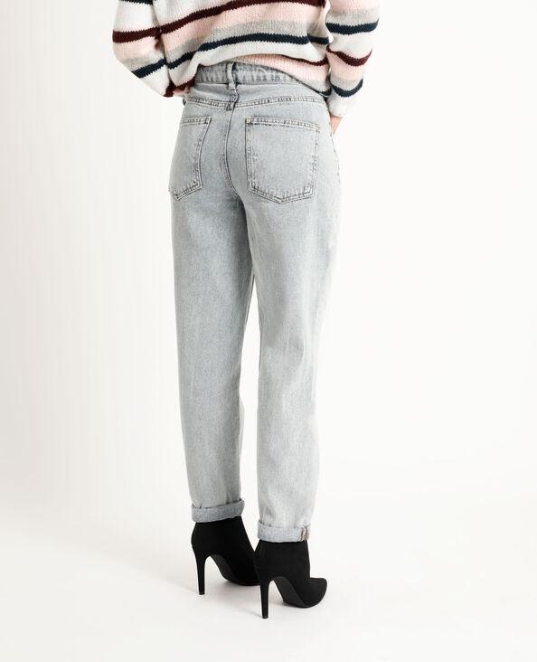 Straight-fit jeans met middelhoge taille verwassen blauw