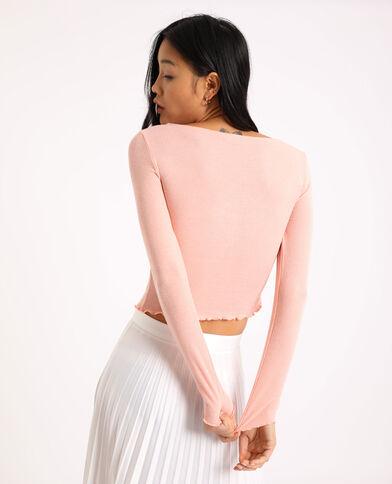 Kort shirt met lange mouwen roze