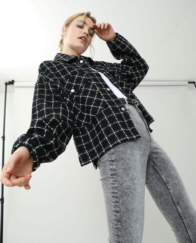 Veste tweed à carreaux noir