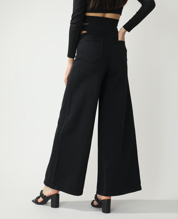 Wide leg jeans met hoge taille en openingen zwart - Pimkie