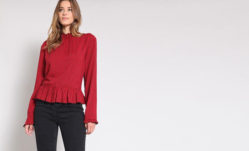 Bedrukte blouse rood