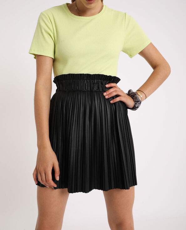 Korte geplooide rok zwart