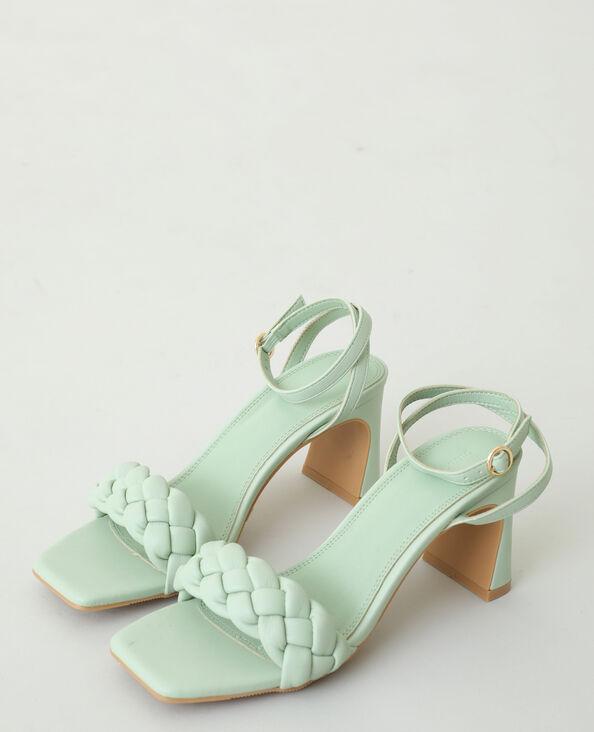Gevlochten sandalen met hak groen - Pimkie